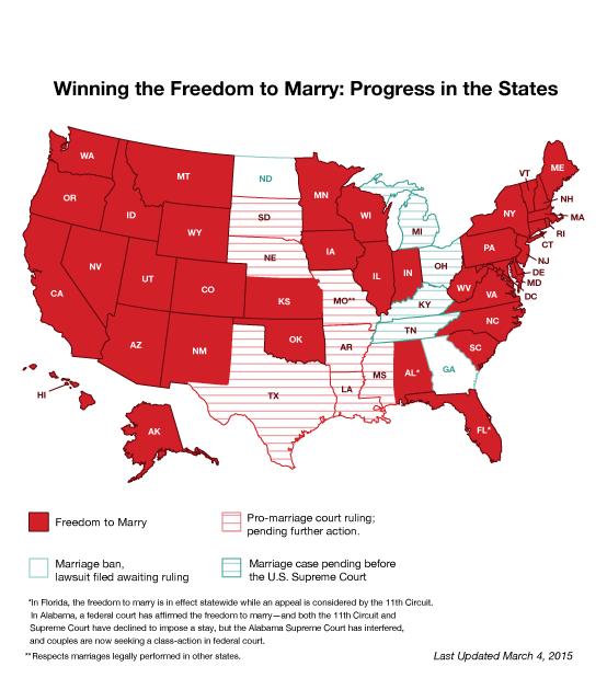 Le mariage homosexuel aux Etats-Unis, mars 2015 Source: freedomtomarry.org