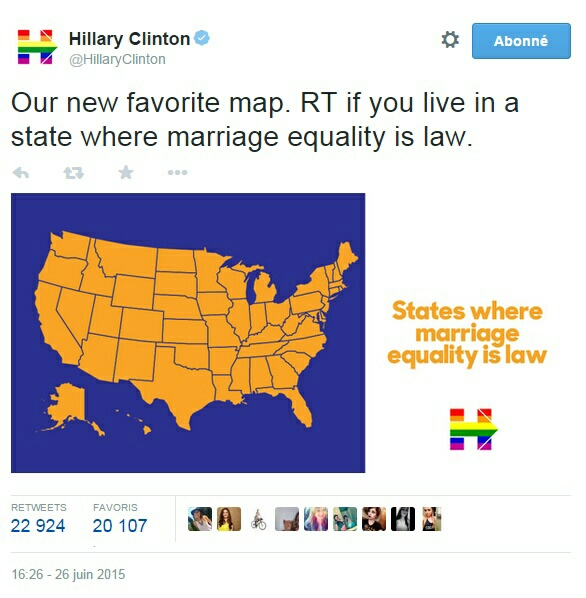 Traduction: Notre nouvelle carte favorite. RT [ce qui signifie retweetez, c'est-à-dire partager le message] si vous vivez dans un état où l'égalité du mariage est loi.