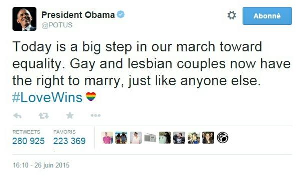 Traduction: Aujourd'hui est un grand pas dans notre marche vers l'égalité. Les couples gays et lesbiens ont désormais le droit de se marier, comme n'importe qui