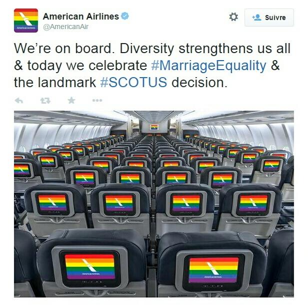 Traduction: Nous sommes à bord. La diversité nous renforce tous & aujourd'hui nous célébrons l'égalité du mariage & la décision majeure de la Cour Suprême [SCOTUS est l'abréviation de Supreme Court Of The United States]