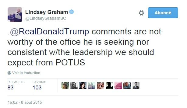 Traduction: Les commentaires de Donald Trump ne sont pas dignes du poste qu'il sollicite ni en adéquation avec le leadership que nous devrions attendre d'un Président des Etats-Unis