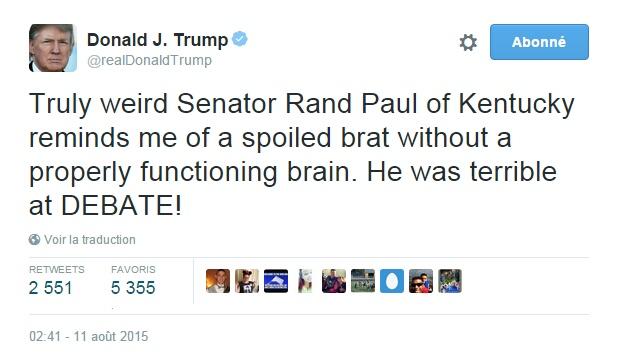 Traduction: Le très étrange Senateur du Kentucky Rand Paul me rappelle un enfant gâté sans un cerveau fonctionnant correctement. Il était mauvais au débat!