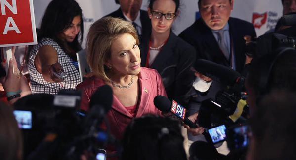 Carly Fiorina face à la presse après le débat