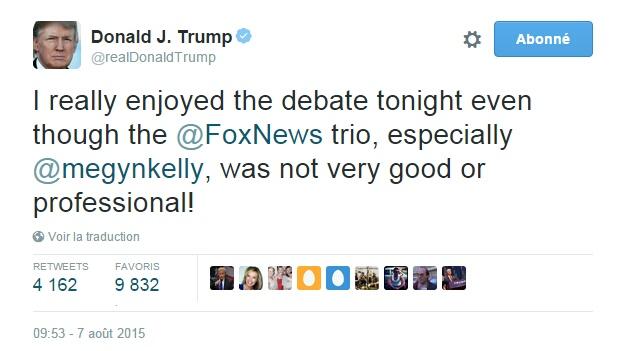Traduction: J'ai vraiment apprécié le débat ce soir même si le trio de Fox News, particulièrement Megyn Kelly, n'était pas très bon ou professionnel!