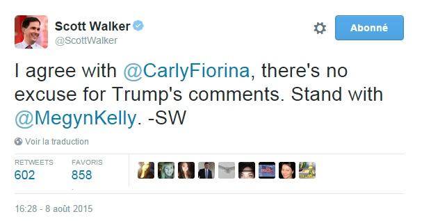 Traduction: Je suis d'accord avec Carly Fiorina, il n'y a pas d'excuse aux commentaires de Trump. Soutien à Megyn Kelly.