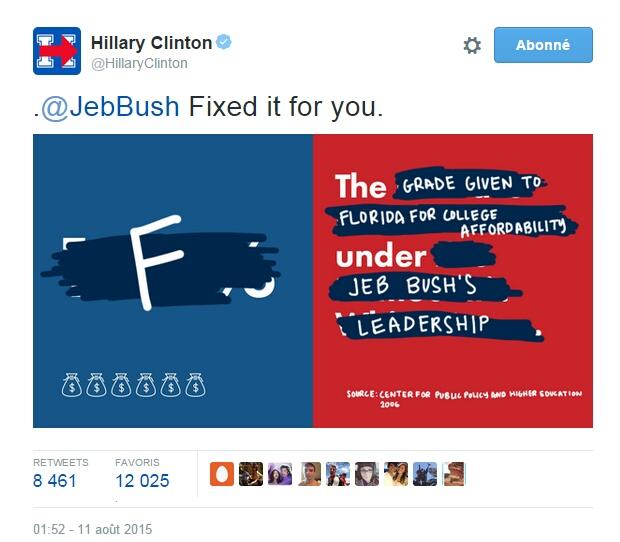 Traduction: J'ai arrangé cela pour vous. F. Le grade donné à la Floride pour l'accessibilité au collège sous le leadership de Jeb Bush.