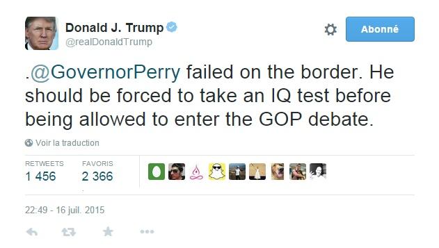 Traduction: Rick Perry a échoué à la frontière. Il devrait être forcé de passer un test de QI avant d'être autorisé à participer au débat.