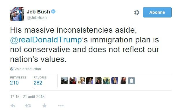 Traduction: Ses énormes incohérences mises à part, le plan d'immigration de Donald Trump n'est pas conservateur et ne reflète pas les valeurs de notre nation.