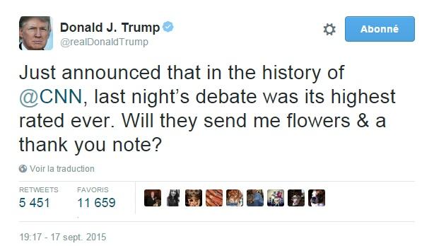 Traduction: Il vient d'être annoncé que dans l'histoire de CNN, le débat de la nuit dernière fut leur meilleure audience jamais réalisée. Vont-ils m'envoyer des fleurs & une note de remerciement?