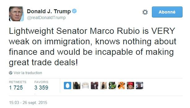 Traduction: Le sénateur sans envergure Marco Rubio est TRÈS faible sur l'immigration, ne connaît rien de la finance et serait incapable de faire de bons accords commerciaux!