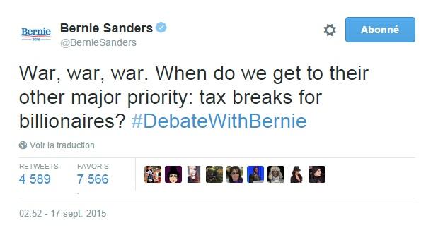 Traduction: La guerre, la guerre, la guerre. Quand vont-ils en venir à leur autre priorité majeure : les exonérations d'impôts pour les milliardaires?