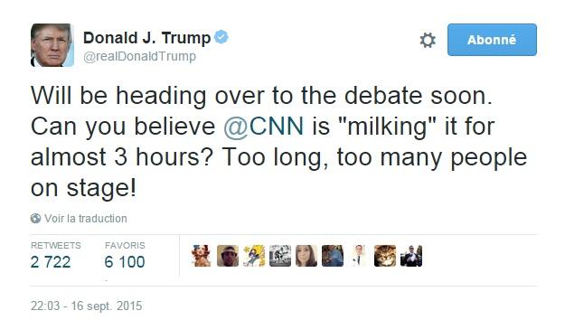Traduction: Je vais me diriger vers le débat bientôt. Pouvez-vous croire que CNN l'exploite pour presque 3 heures? Trop long, trop de personnes sur la scène!