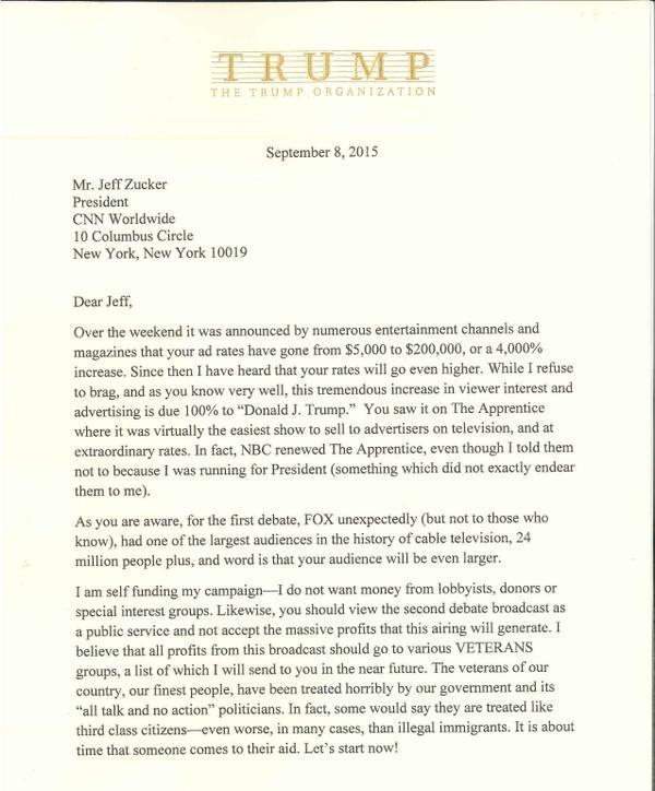 Photo de la lettre envoyée par Donald Trump au président de CNN et publiée par le candidat républicain sur son compte Twitter