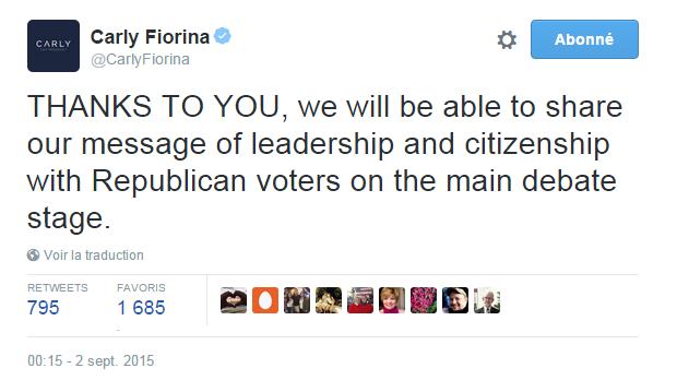 Traduction: GRÂCE À VOUS, nous allons pouvoir partager notre message de leadership et de citoyenneté avec les électeurs Républicains sur la scène débat principal.