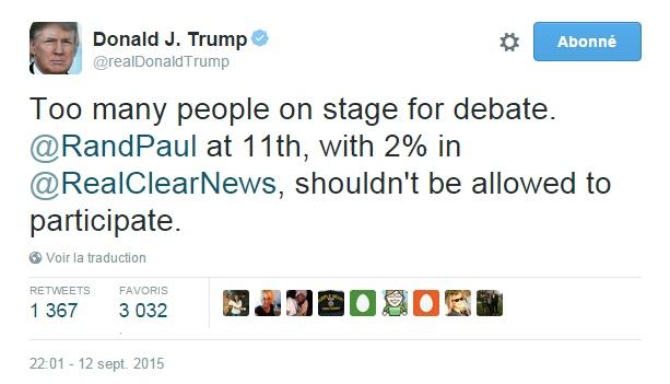 Traduction: Trop de personnes sur scène pour le débat. Rand Paul à la 11ème place, avec 2% dans le sondage de RealClearNews, ne devrait pas être autorisé à participer.