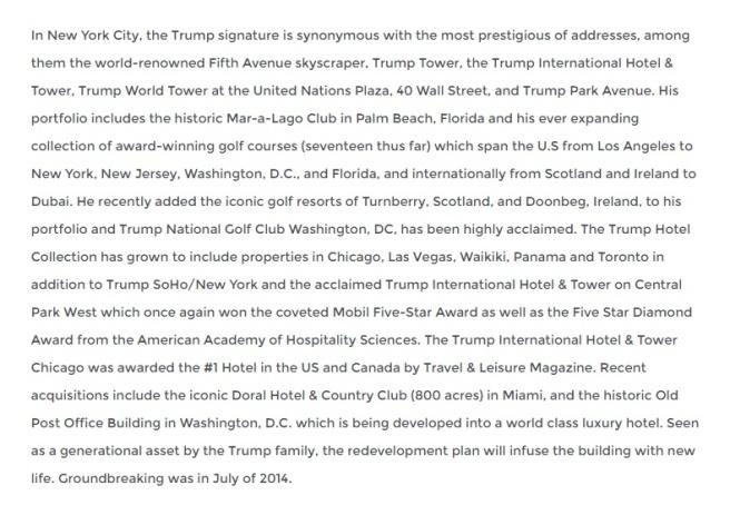 Extrait de la biographie de Donald Trump sur son site web officiel. (Source: donaldjtrump.com)