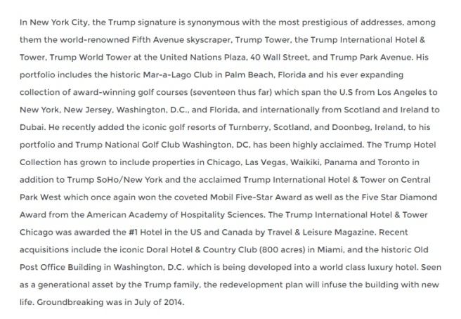 Extrait de la biographie de Donald Trump sur son site web officiel. (Source: donaldjtrump.com)