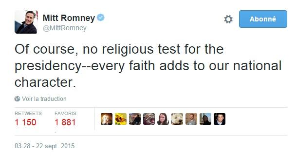 Traduction: Bien sûr, pas de contrôle religieux pour la présidence - chaque croyance contribue à notre caractère national.