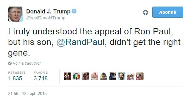 Traduction: Je comprenais parfaitement l'attrait de Ron Paul, mais son fils, Rand Paul, n'a pas reçu le bon gène.