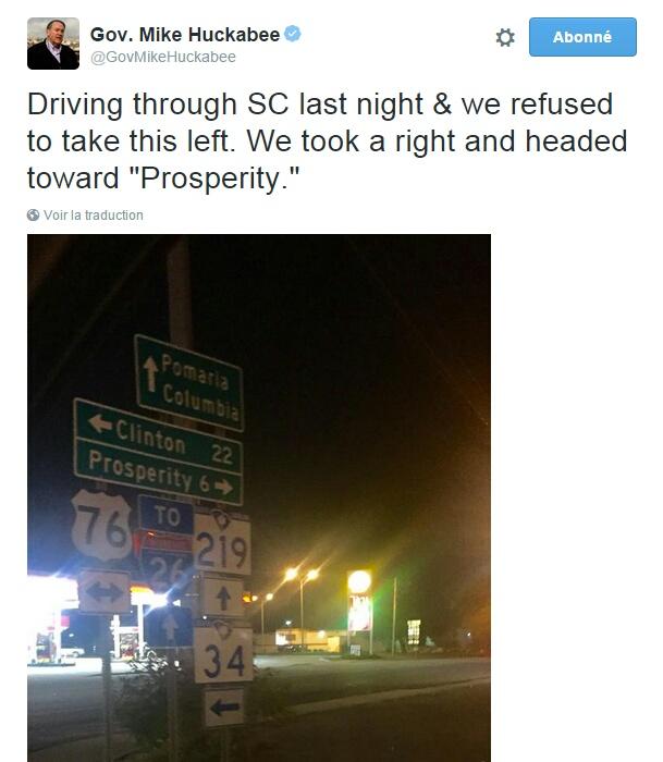 """Traduction: Nous conduisions en Caroline du Sud la nuit dernière & nous avons refusé de prendre à gauche. Nous avons pris à droite et nous nous sommes dirigés vers """"Prospérité""""."""