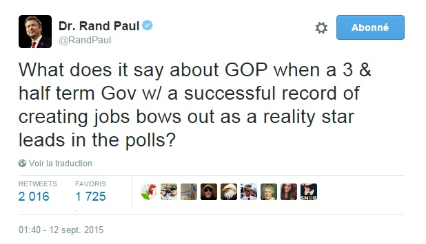 Traduction: Qu'est-ce que cela dit à propos du GOP (Parti Républicain) lorsqu'un gouverneur pendant 3 mandats et demi avec un bilan brillant dans la création d'emplois se retire alors qu'une star de la téléréalité est en tête dans les sondages?