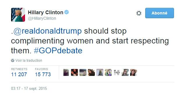 Traduction: Donald Trump devrait arrêter de complimenter les femmes et commencer à les respecter.