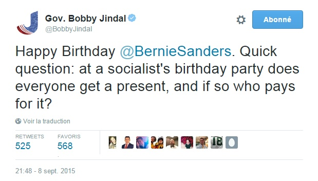 Traduction: Joyeux anniversaire Bernie Sanders. Petite question: à une fête d'anniversaire socialiste est-ce que tout le monde reçoit un cadeau, et si c'est le cas qui paye pour ?