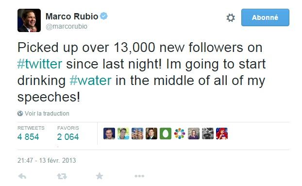 Traduction: J'ai gagné plus de 13,000 nouveaux abonnés sur Twitter depuis hier soir! Je vais commencer à boire de l'eau au milieu de tous mes discours!