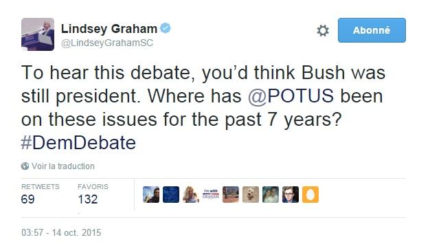 Traduction: A entendre ce débat, on croirait que Bush est encore président. Où était le président Obama sur ces questions ces 7 dernières années?