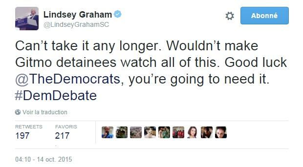 Traduction: Je ne peux pas en entendre davantage. Je ne ferais même pas endurer cela aux détenus de Guantanamo. Bonne chance les Démocrates, vous allez en avoir besoin.