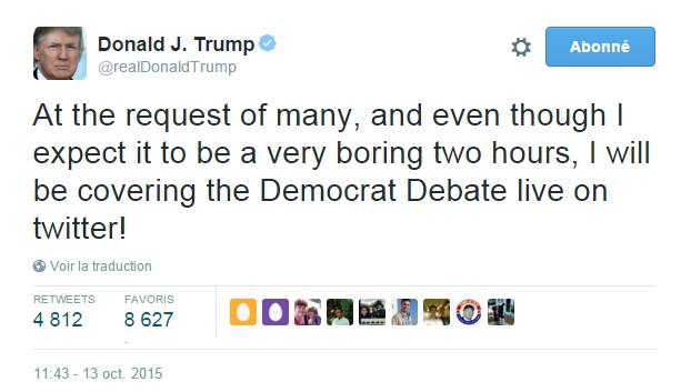 Traduction: A la demande de nombreuses personnes, et même si je m'attends à ce que ce soit deux heures très ennuyeuses, je commenterai le débat démocrate en direct sur Twitter!
