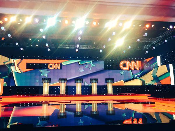 Le plateau du débat à l'hôtel Wynn de Las Vegas