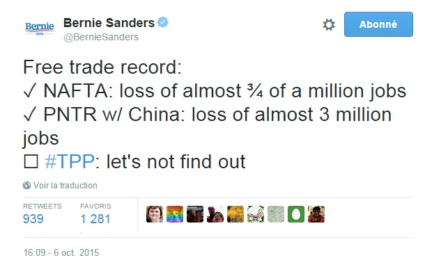 Traduction: Bilan du libre échange : NAFTA: perte de presque 3/4 de million d'emplois PNTR avec la Chine : perte de presque 3 millions d'emplois TPP : Mieux vaut ne pas le découvrir