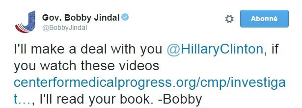 Traduction: Je vais passer un accord avec vous Hillary Clinton, si vous regardez ces vidéos, je lirai votre livre. - Bobby
