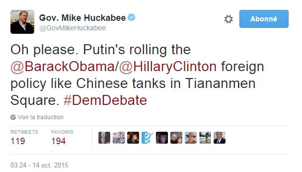 Traduction: Oh par pitié. Poutine roule sur la politique étrangère Obama/Clinton comme des tanks chinois sur la place Tiananmen