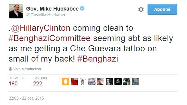 Traduction: Hillary Clinton avouant tout au Benghazi Committee semble aussi plausible que moi me faisant un tatouage de Che Guevara dans le creux des reins !