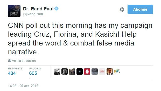 Traduction: Le sondage de CNN de ce matin place ma campagne devant celles de Cruz, Fiorina et Kasich! Aidez à faire passer le mot & à combattre le faux récit des médias.