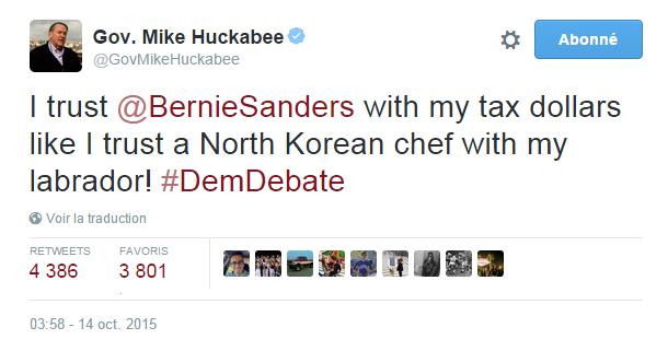 Traduction: J'ai autant confiance en Bernie Sanders avec mes impôts qu'en un cuisinier nord-coréen avec mon labrador!