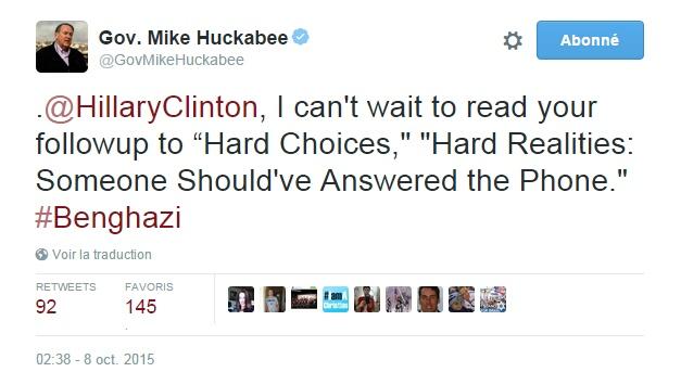 """Traduction: Hillary Clinton, je suis impatient de lire la suite d'Hard Choices, """"Dures réalités : Quelqu'un aurait dû répondre au téléphone"""" #Benghazi"""