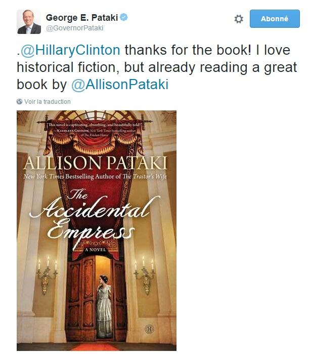 Traduction: Merci pour le livre! J'aime la fiction historique, mais je suis déjà en train de lire un bon livre d'Allison Pataki