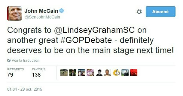 Traduction: Bravo à Lindsey Graham pour un autre bon débat - il mérite définitivement d'être sur la scène principale la prochaine fois!