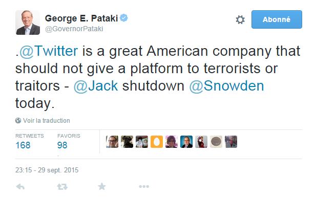 Traduction: Twitter est une grande entreprise américaine qui ne devrait pas donner une tribune aux terroristes ou aux traîtres - Jack (en référence à Jack Dorsey, le patron de Twitter) fermez le compte d'Edward Snowden aujourd'hui.