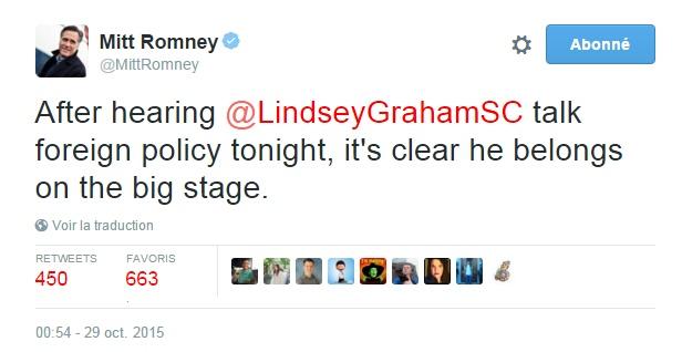 Traduction: Après avoir écouté Lindsey Graham parler de politique étrangère ce soir, il est clair qu'il appartient à la cour des grands.