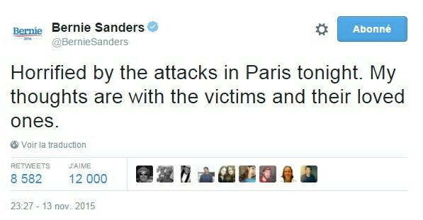 Traduction: Horrifié par les attaques à Paris ce soir. Mes pensées vont aux victimes et à leurs proches.