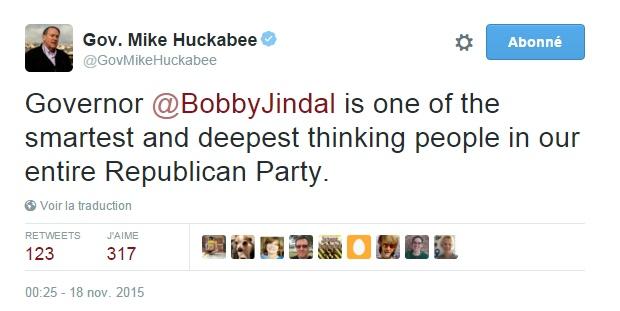 Traduction: Le gouverneur Bobby Jindal est l'une des personnes les plus intelligentes de notre Parti Républicain.