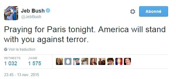 Traduction: Je prie pour Paris ce soir. L'Amérique se tiendra à vos côtés contre le terrorisme.