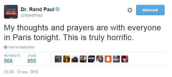 Traduction: Mes pensées et prières sont avec tout le monde à Paris ce soir. C'est vraiment horrible