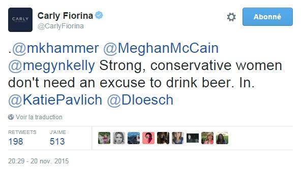 Traduction: Les femmes fortes et conservatrices n'one pas besoin d'une excuse pour boire une bière. Je suis partante.