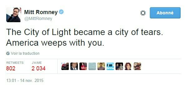 Traduction: La Ville Lumière est devenue une ville de larmes. L'Amérique pleure avec vous.