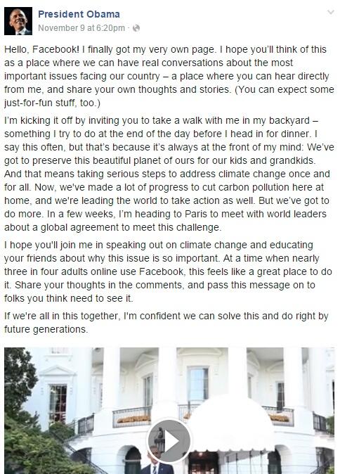 La première publication de Barack Obama sur Facebook